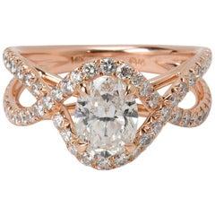 James Allen Oval Diamond Engagement Ring in 14 Karat Rose Gold '2.65 Carat'