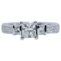 James Allen Platinum GIA Certified Princess Cut Diamond 3-Stone Ring