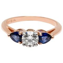 James Allen Three-Stone Diamond and Sapphire Ring 14 Karat Rose Gold 1.50