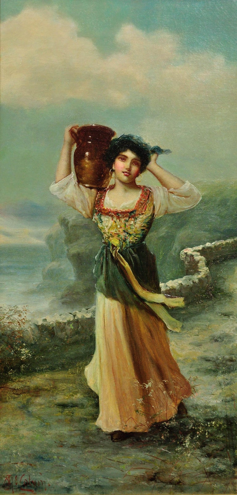 Collecting Water from the Well. North East England Fishing Community. Romantic. - Painting by James Andrew McColvin