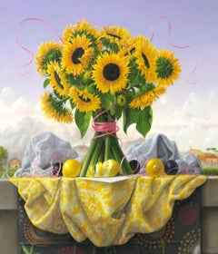 Still Life with Sunflowers. Lemons and Plums