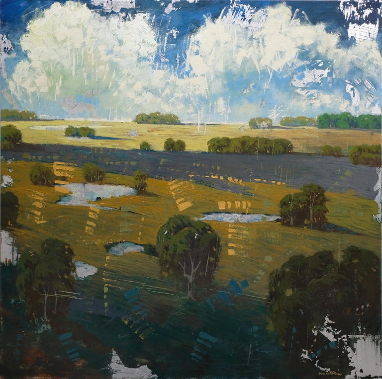 Distant Field Ponds - Mixed Media Art by James Armstrong