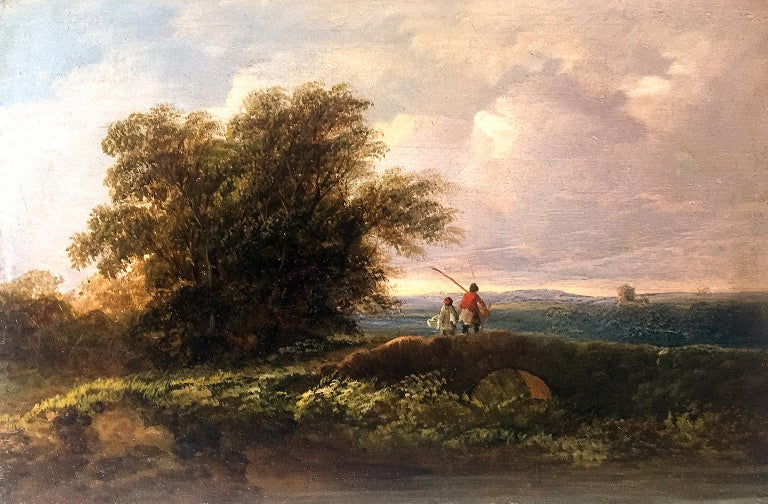 Circle of James Arthur O'Connor (1792-1841) Father and son fishing  - Romantic Painting by James Arthur O'Connor