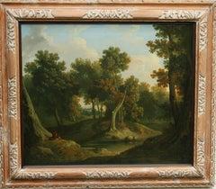 Old Master Wooded Landscape - Irish 1830 art woodland oil painting