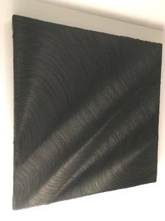 Stones in the Stream, Monochromatic oil painting, minimalist, black