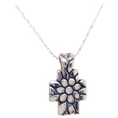 James Avery Cross-Retired Large Daisy Flower Cross Necklace Sterling Silver