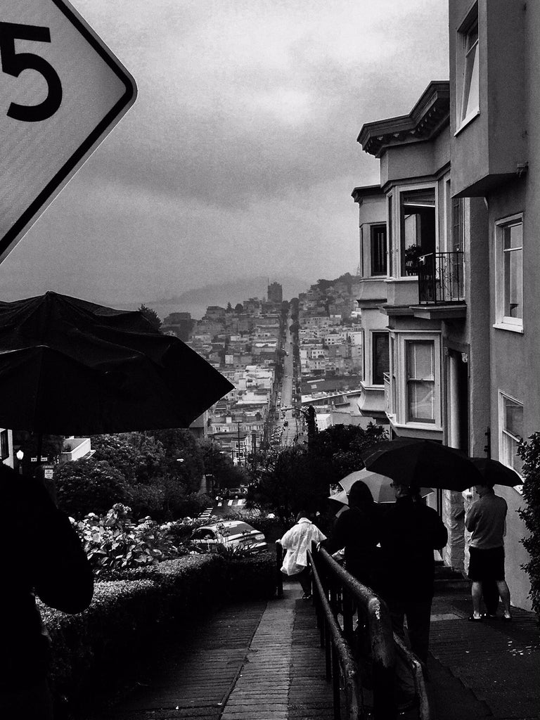 """James Bacchi Black and White Photograph - """"InTheSky  San Francisco #135 Lombard Street"""