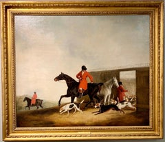 Antique English 19th century, Fox huntsman and hounds in a landscape.