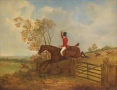 James Barenger - A huntsman on horseback jumping a gate