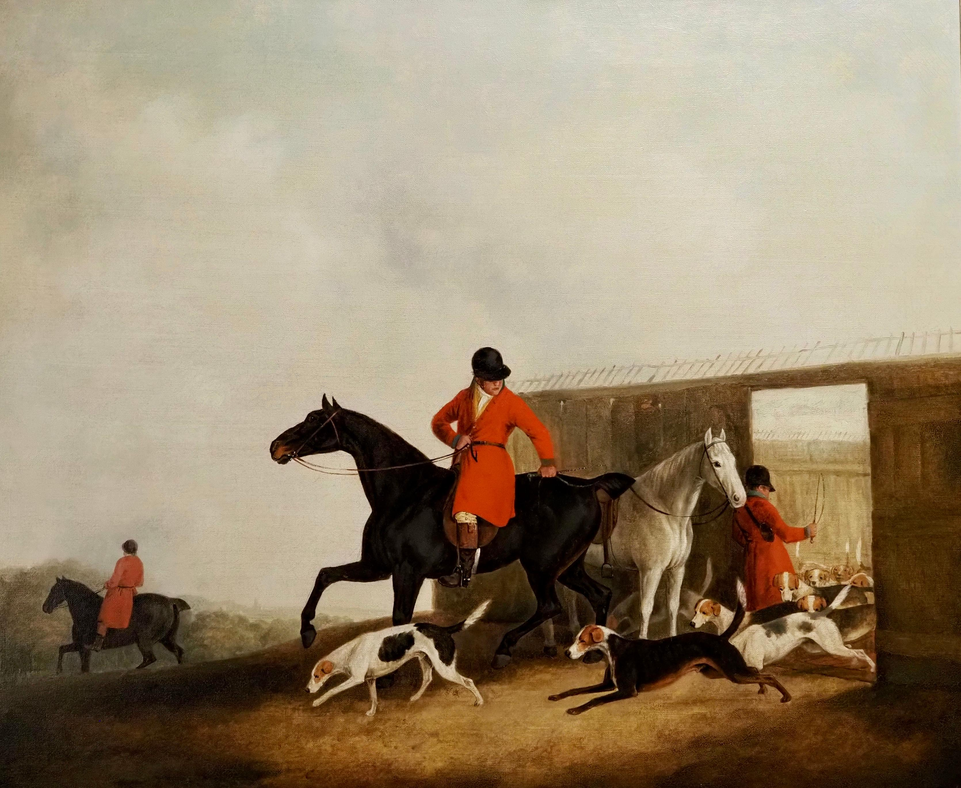 The Hunt moving off - Releasing the hounds