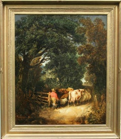 Country Lane, Cattle Going Home - Victorian art British landscape oil painting