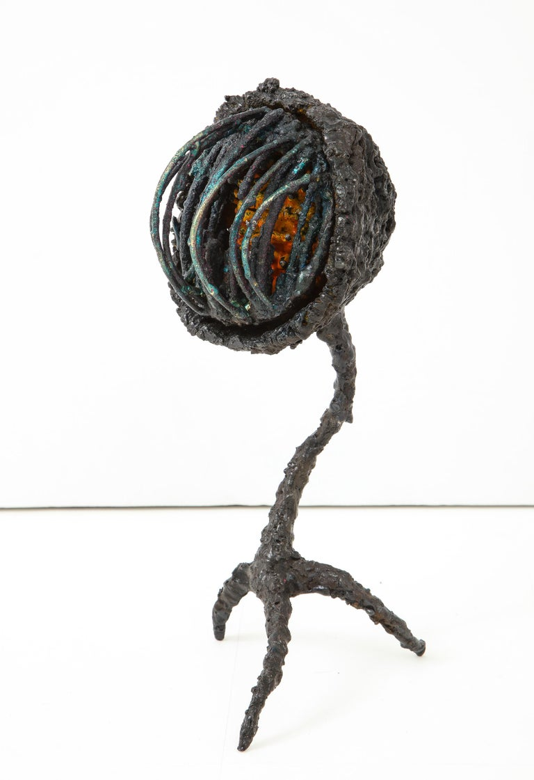 """Coil Box,"" a dynamic abstract sculpture of torch-cut steel with glass enamel and dyed bronze, by American artist James Bearden. From his Woven series., 2018. The quasi-anthropomorphic, quasi-mechanical form radiates a dramatic energy from its talon"