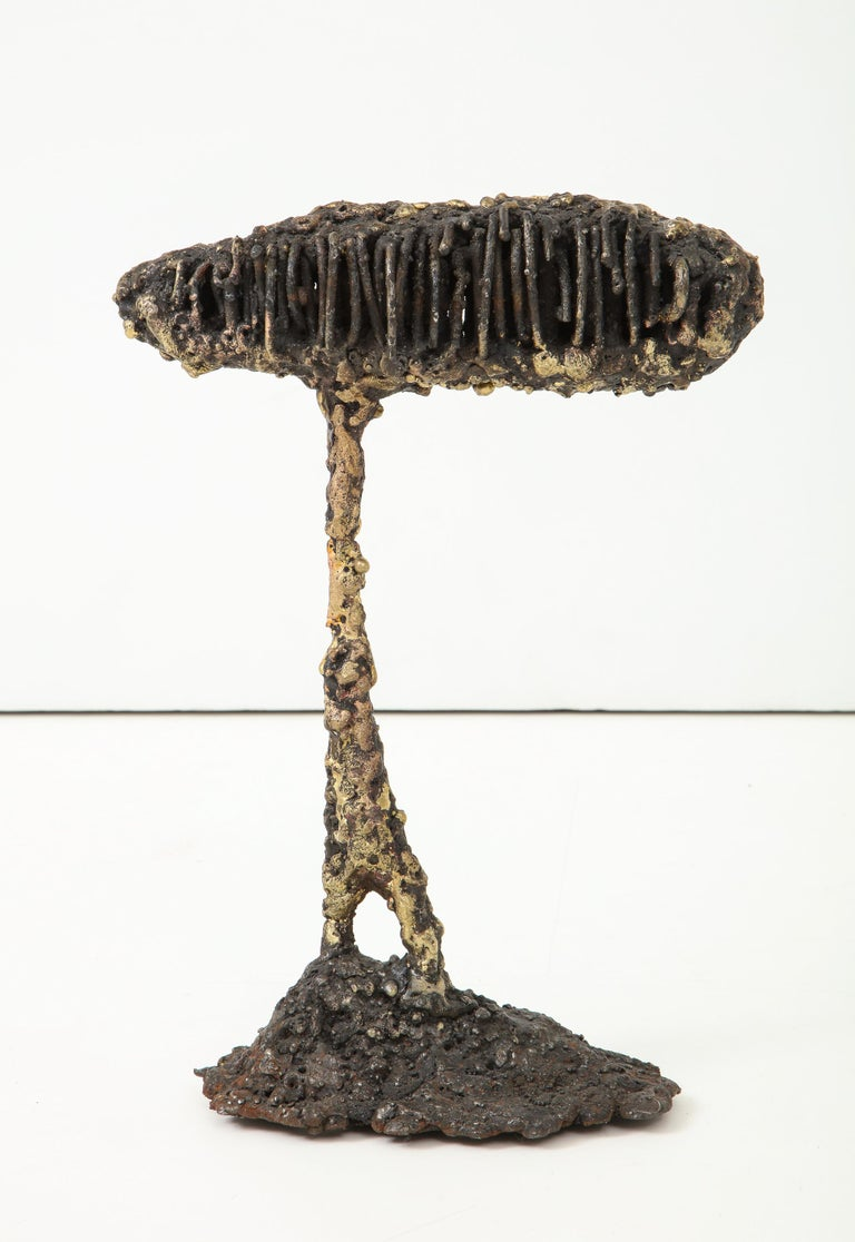 """Abstract sculpture of torch-cut steel and bronze by American artist James Bearden. From his """"Woven"""" series, 2019. Bearden's work was featured in a 2020 solo exhibition at the NY Design Center titled"""