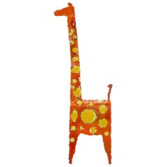 James Bearden Table Top Girafe Sculpture, Orange and Yellow Enamaled Steel