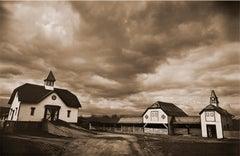 Ankony Farm ( Contemporary Rural Landscape Sepia toned Photograph with Barns)