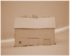 Barn with Birds ( Black and White Sepia Toned Pigment Print of a Winter Scene)