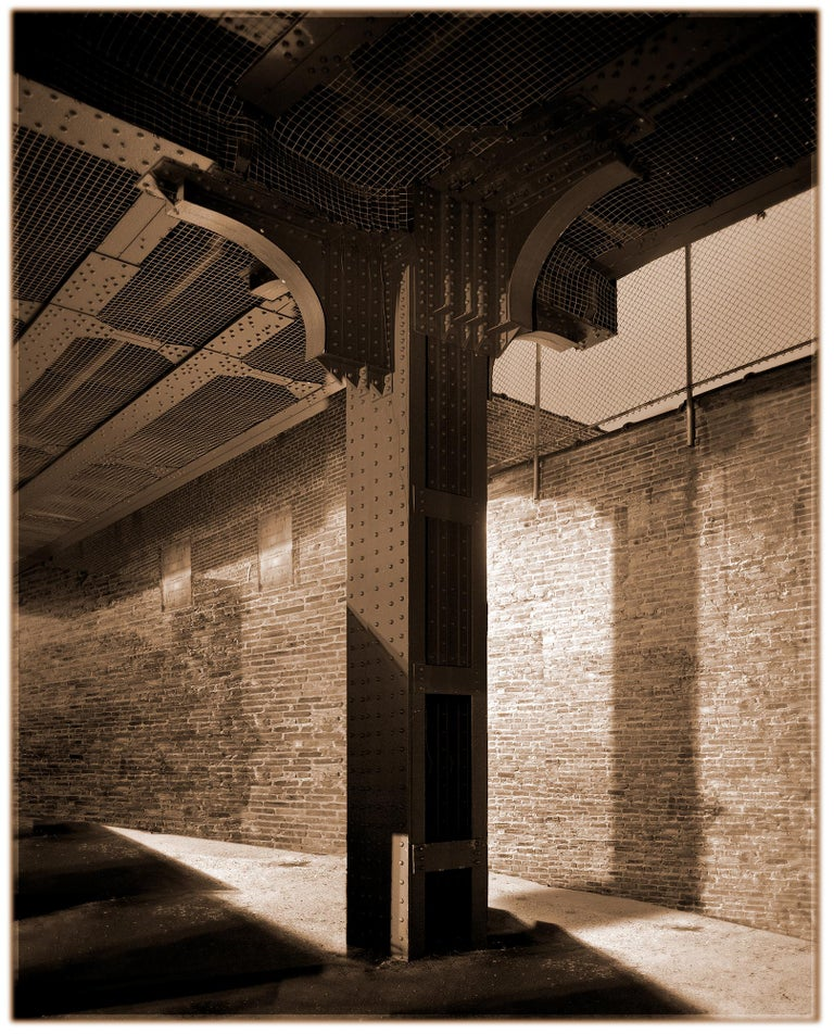 James Bleecker Black and White Photograph - High Line: Column (Sepia Toned Architectural Photograph in Manhattan)