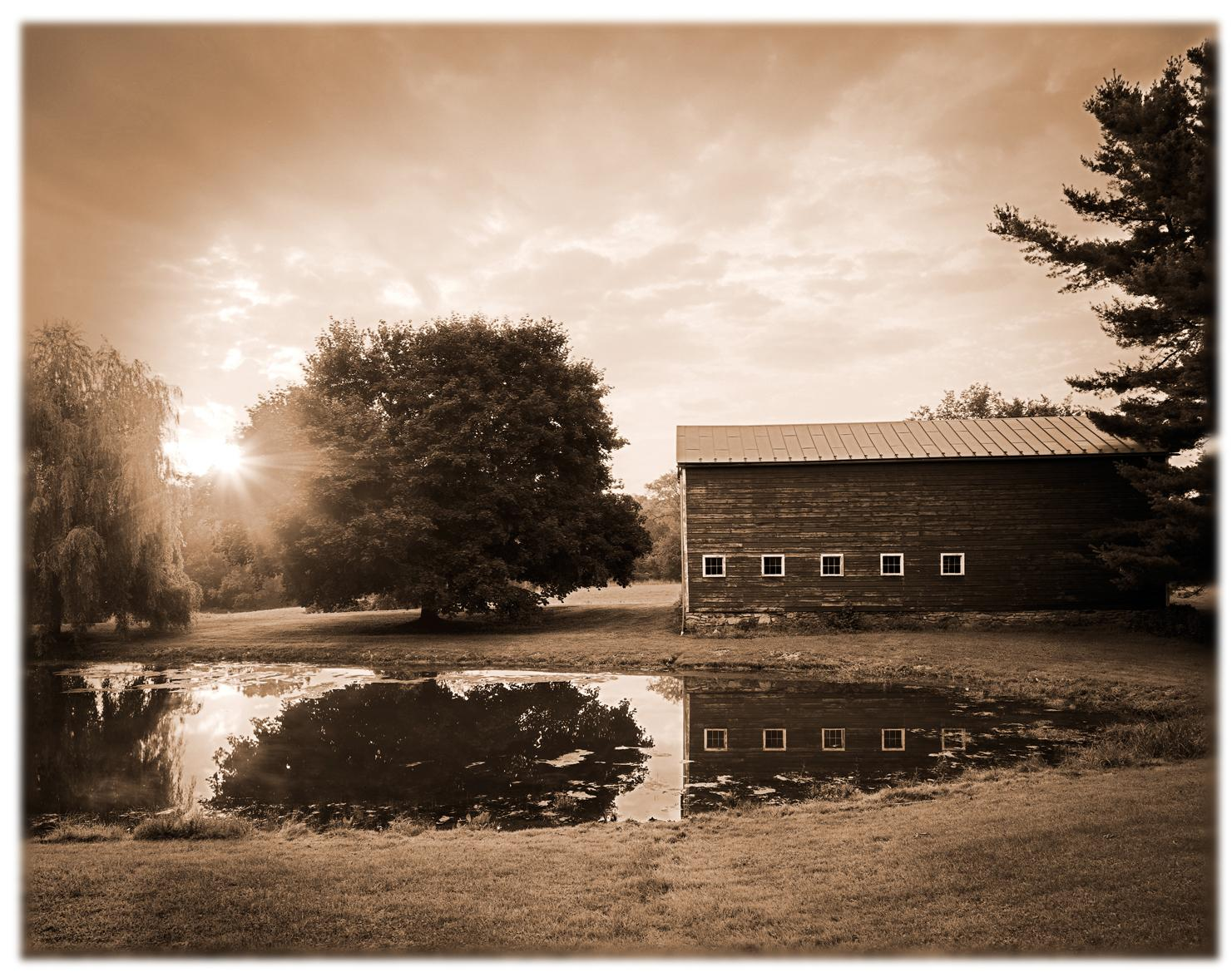 Kline Kill Road (Tranquil Landscape Photo of a Rustic Barn in Sepia tone)