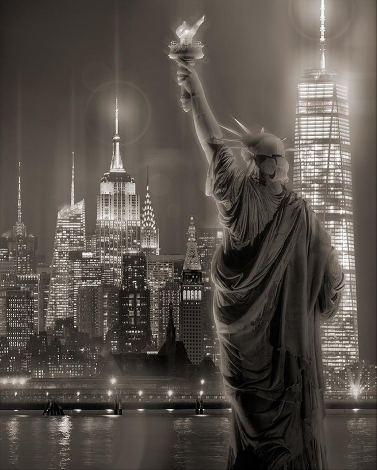 James Bleecker Black and White Photograph - Manhattan View from Upper Harbor (New York City Skyline & The Statue of Liberty)