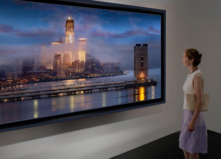 One World Trade Center #11 by James Bleecker  40x80 sheet size, edition of 15, $9,500  Contemporary color photograph of New York City's downtown skyline and the Freedom Tower as viewed from the Hudson archival pigment print on watercolor paper,