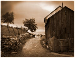 Quimby Farm, Marlborough, NY (Sepia Toned Pigment Print of a Barn and Goats)