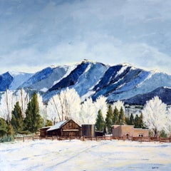 Mid-Morning in Taos (winter landscape, buildings, mountains, snow)