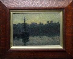 Rigged Sailing Vessel against a Quay - Evening Light - British Impressionist oil