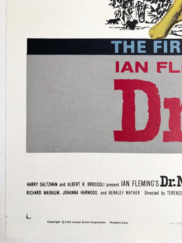 American James Bond 'Dr. No' Original Vintage US One Sheet Movie Poster, 1962 For Sale
