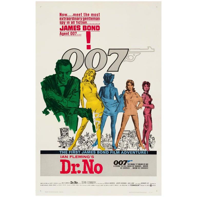 James Bond 'Dr. No' Original Vintage US One Sheet Movie Poster, 1962 For Sale