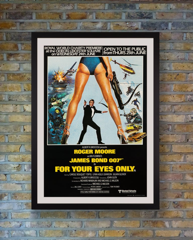 An exceedingly rare billboard sized British double quad for the Royal World Charity Premiere of 'For Your Eyes Only' at the Odeon Leicester Square, London, on Wednesday 24th June 1981. The glitzy premiere was attended by royals Princess Margaret,