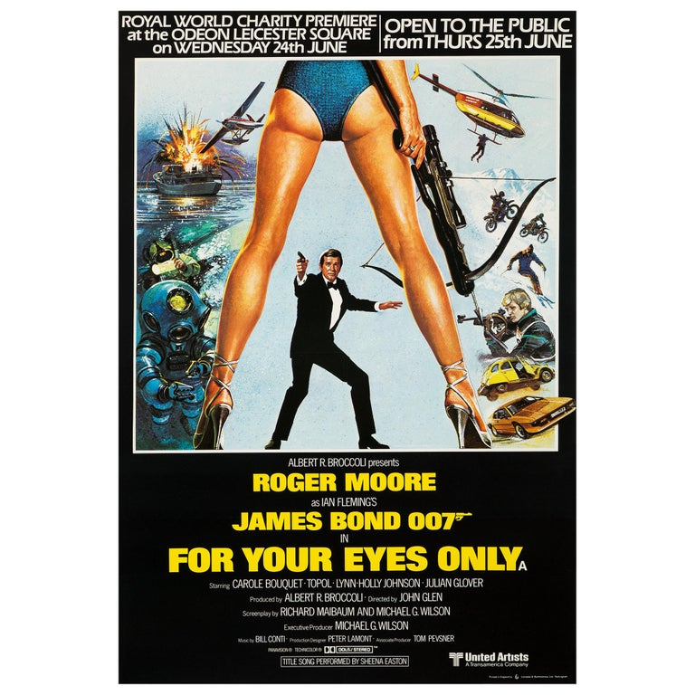 """James Bond """"For Your Eyes Only"""" Royal Premiere Movie Poster, British, 1981"""