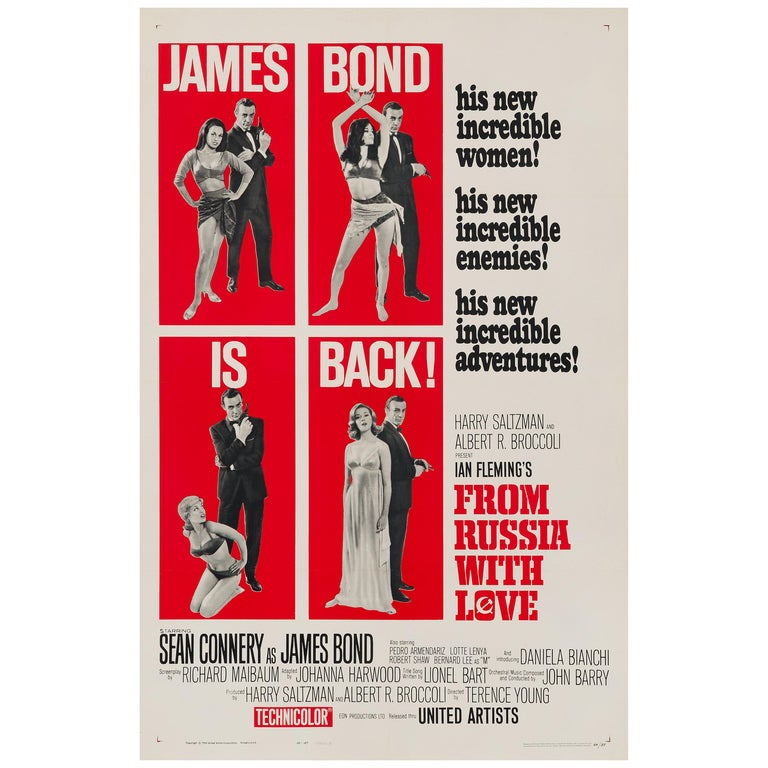 James Bond 'From Russia with Love' Original US One Sheet Movie Poster, 1964 For Sale