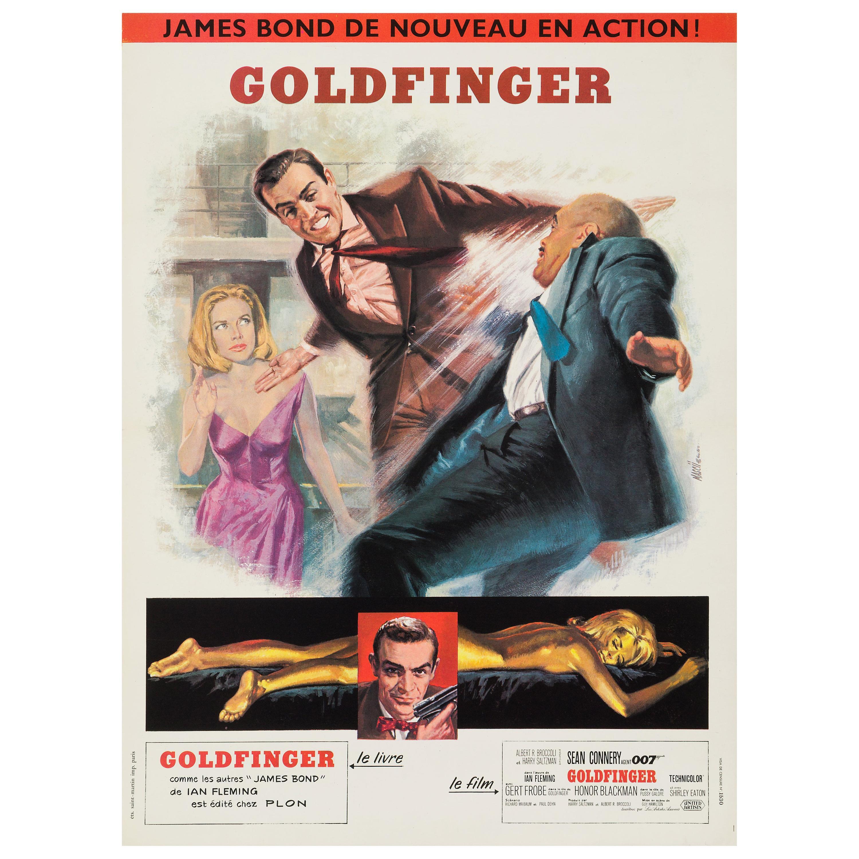 James Bond 'Goldfinger' Original Vintage French Movie Poster, 1965