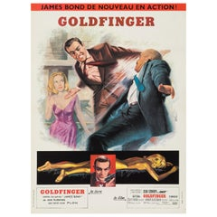 James Bond 'Goldfinger' Original Vintage French Movie Poster, 1965