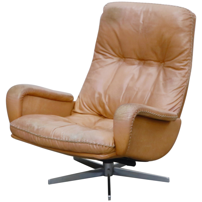 'James Bond' Model S-231 Swivel Lounge Armchair by De Sede, Switzerland, 1960s