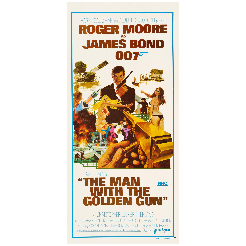 """James Bond """"The Man With The Golden Gun"""" Australian Daybill Movie Poster, 1974"""