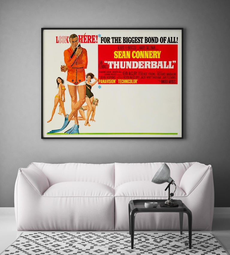 Mid-Century Modern James Bond 'Thunderball' Original US Subway Movie Poster, 1965