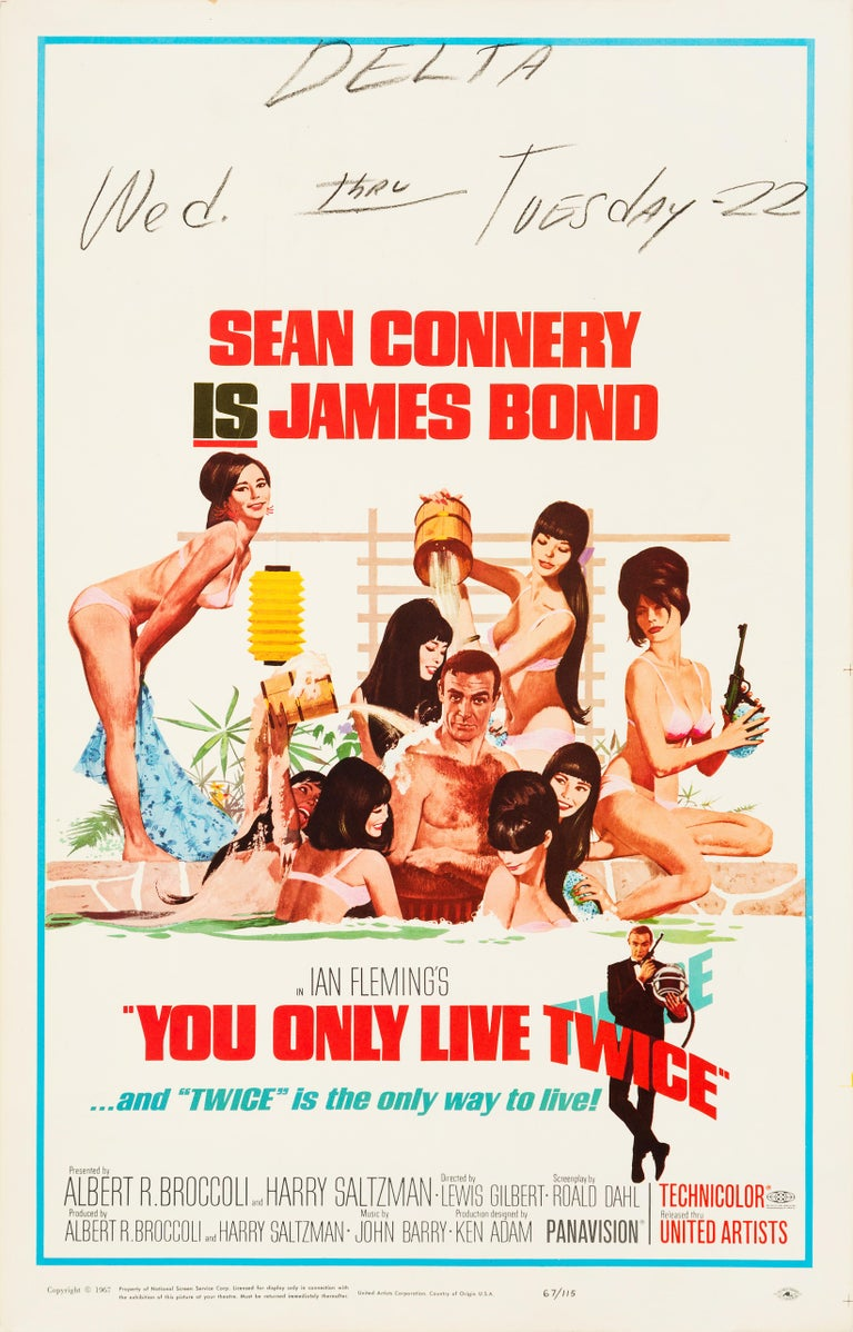 American James Bond 'You Only Live Twice' Original Vintage Movie Poster, 1967 For Sale