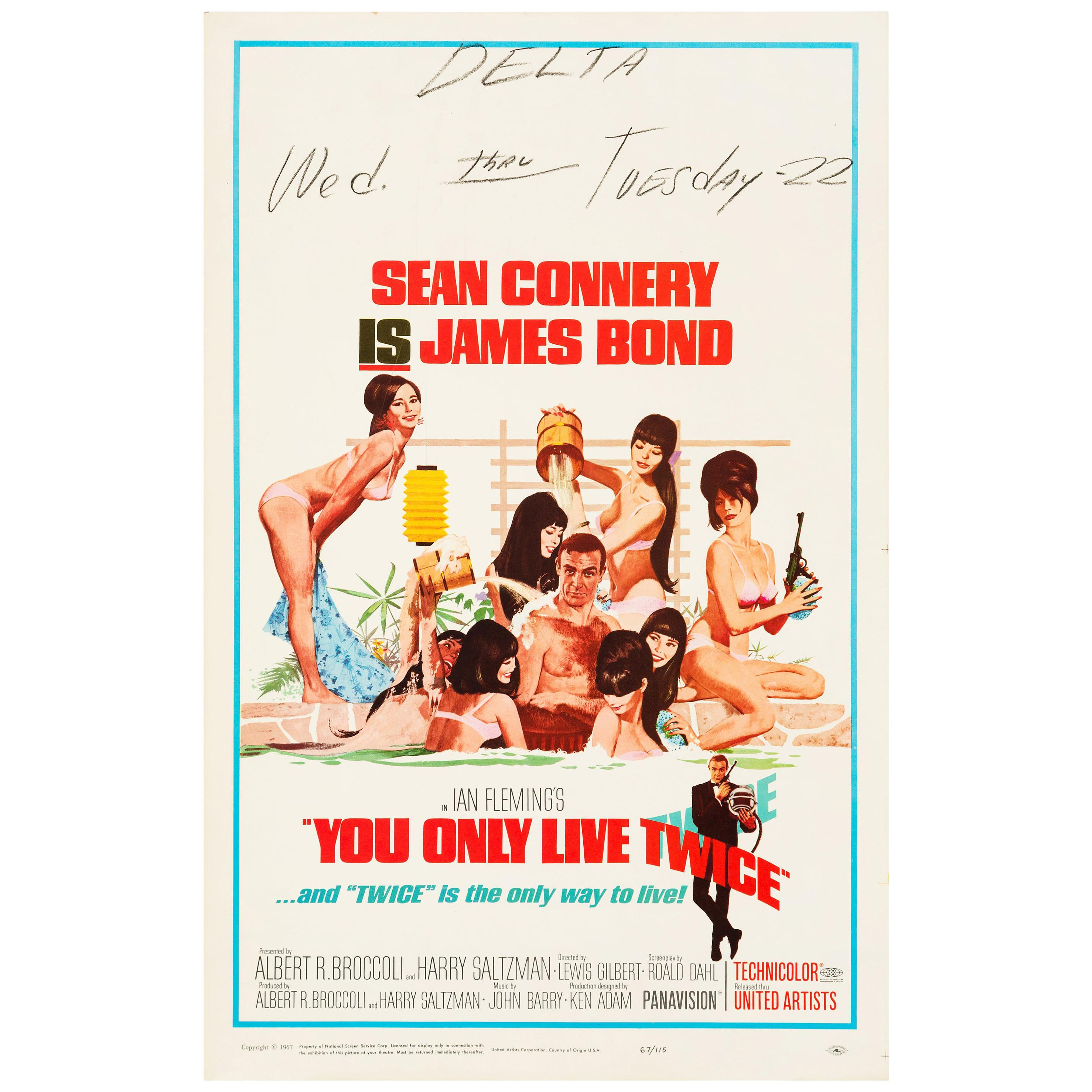 James Bond 'You Only Live Twice' Original Vintage Movie Poster, 1967