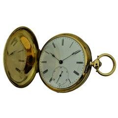 James Bonnet 18 Karat Yellow Gold Keywind Hunters Case Pocket Watch, circa 1850s
