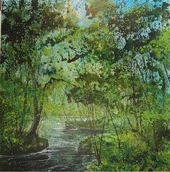 James Bonstow, River dart 3, Woodland Landscape Painting, Contemporary Art