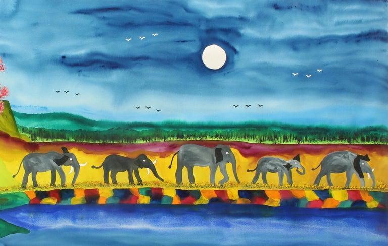 Elephant Parade Contemporary Naive Folk Art Outsider Art Elephant Animal Bright - Painting by James (Jimmy) C. Litz