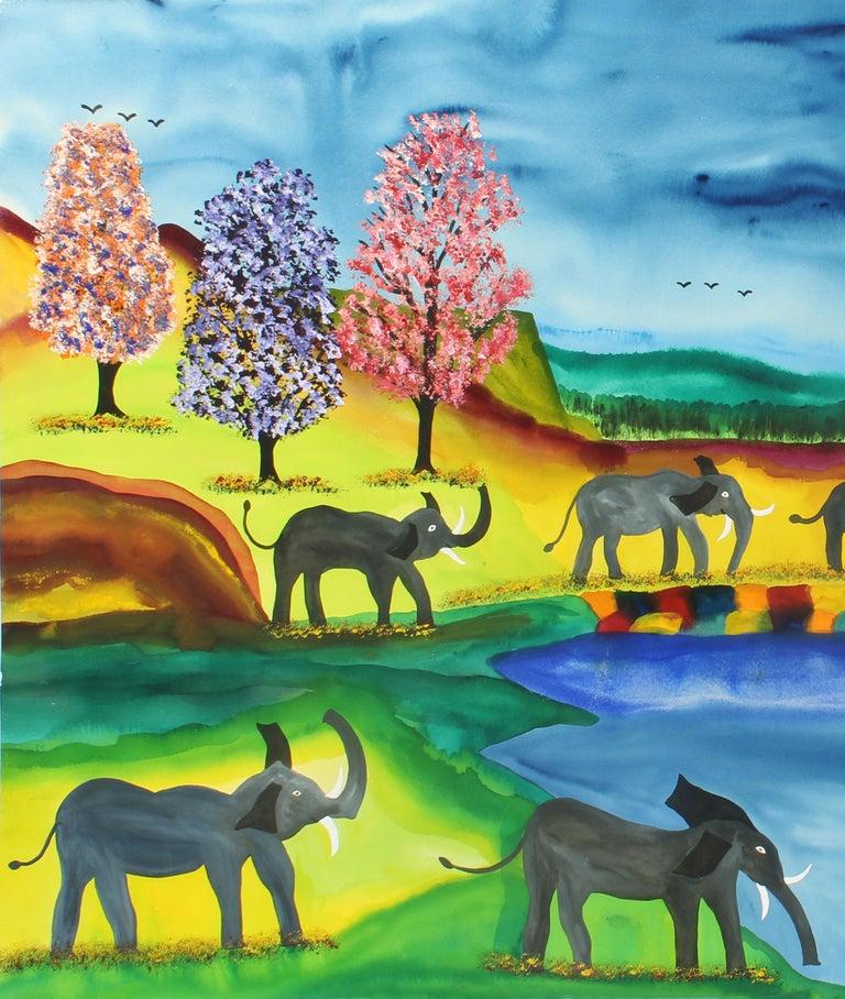 Elephant Parade Contemporary Naive Folk Art Outsider Art Elephant Animal Bright - Primitivism Painting by James (Jimmy) C. Litz
