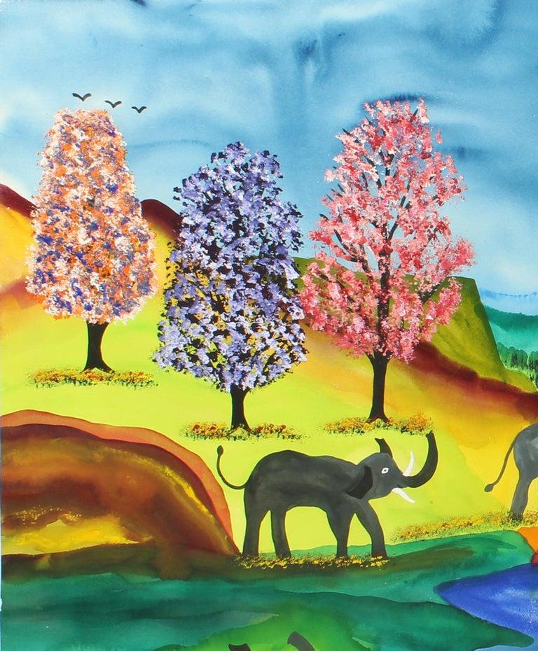 Elephant Parade Contemporary Naive Folk Art Outsider Art Elephant Animal Bright - Blue Landscape Painting by James (Jimmy) C. Litz