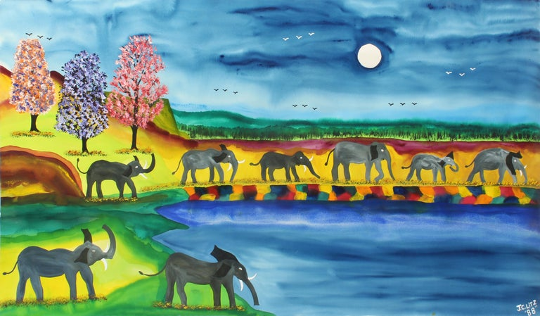 James (Jimmy) C. Litz Landscape Painting - Elephant Parade Contemporary Naive Folk Art Outsider Art Elephant Animal Bright
