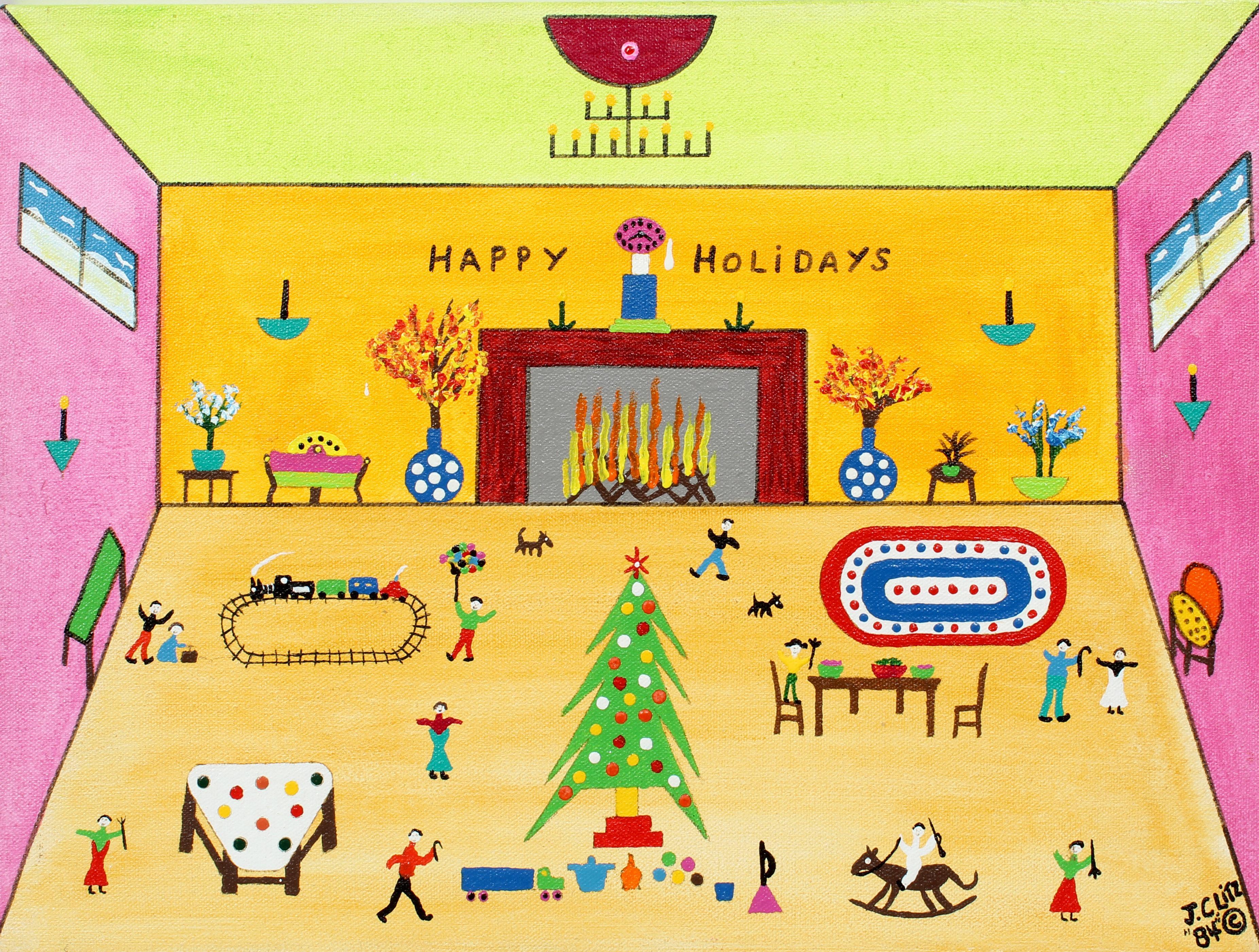 Holiday Folk Art Painting Toys Interior James Litz American Naive Rare Christmas