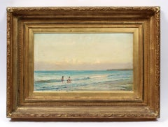 Scottish Oil Painting Impressionist Beach Scene Hand Carved Drysdale Frame