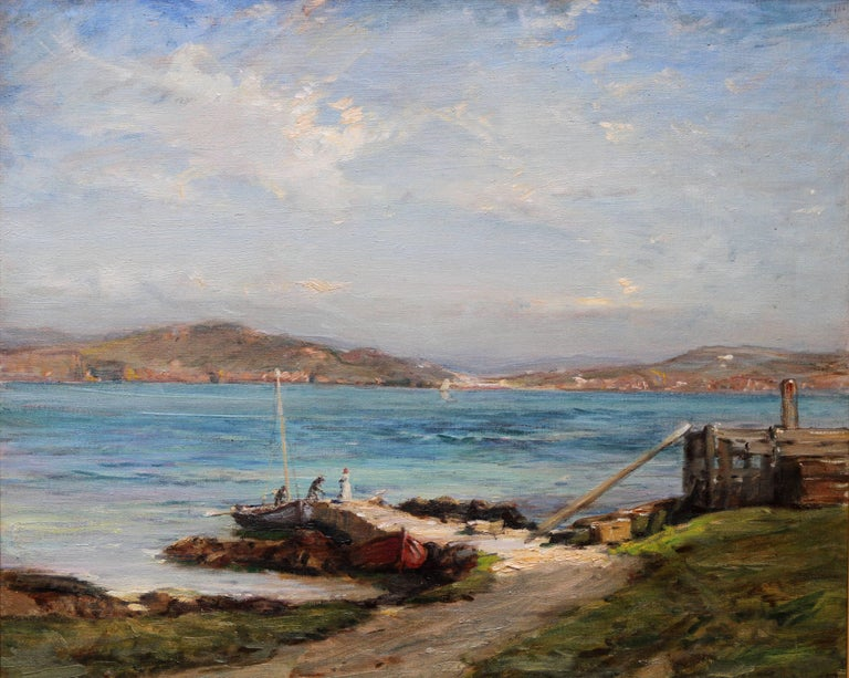 The Ferry Iona - Scottish Edwardian Impressionist art seascape oil painting  For Sale 1