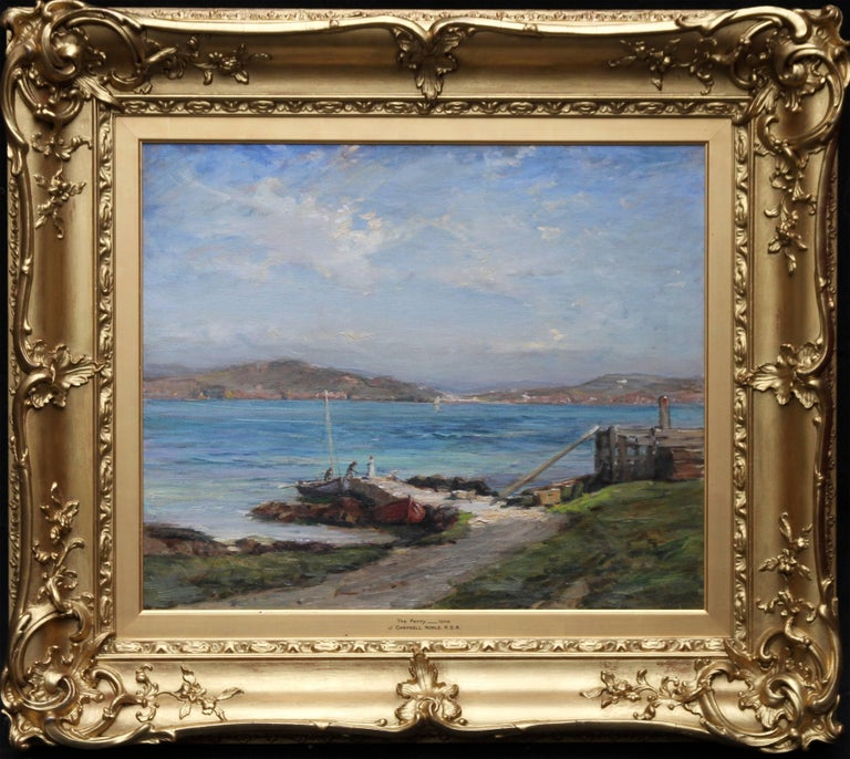 A fine oil on canvas by Scottish listed artist John Campbell Noble RSA.  Painted circa 1906  it is a fine example of Scottish Impressionism and depicts the ferry at Iona with the sea and mountains. It is very vibrant with excellent colour and