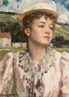19th-century Portrait of a Lady by James Carroll Beckwith (1852-1917, American)